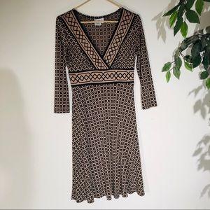 Maggy London Tan Dress With Black Print